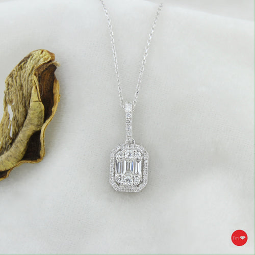 0. 43 Ct F-G Color Pırlanta Baget Kolye - I'm Diamond