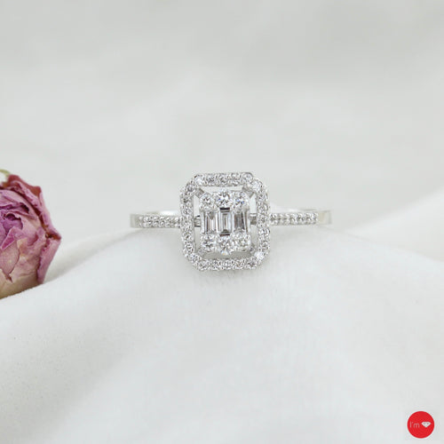 0.31 Ct F-G Color Baget Yüzük - I'm Diamond