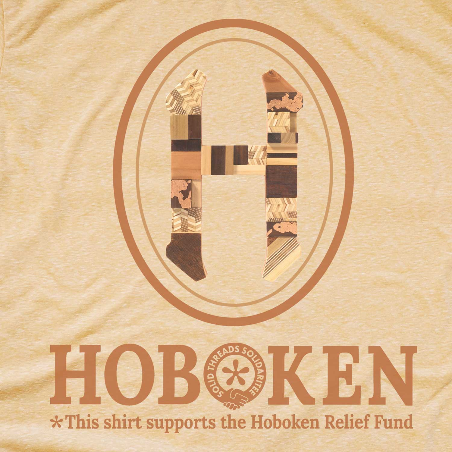 "Women's Hoboken ""H"" Relief Fund Limited Edition scoopneck tee-shirt with cool, retro Virginia Einstein graphic 