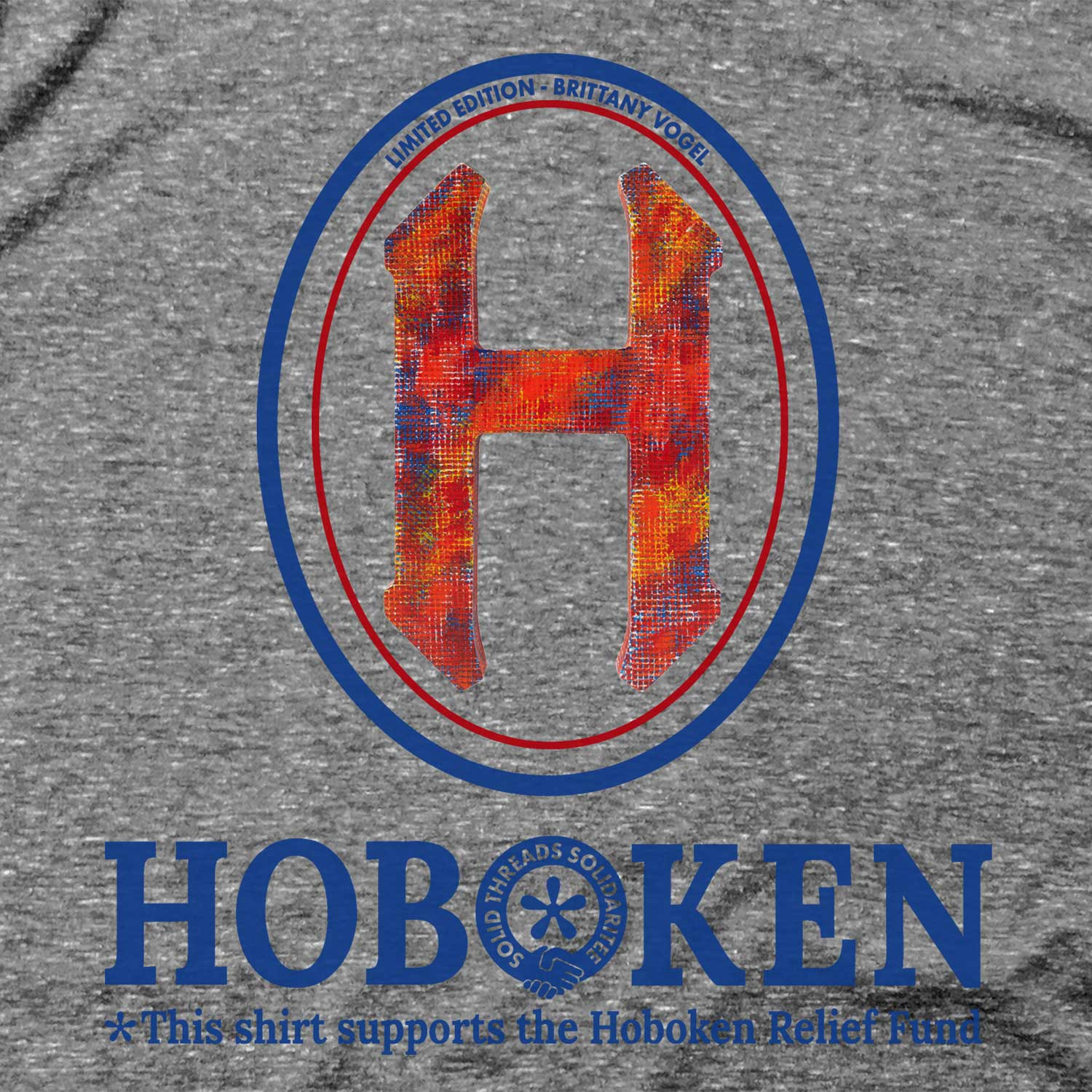 "Men's Hoboken ""H"" Relief Fund Limited Edition scoopneck tee-shirt with cool, retro Brittany Vogel graphic 