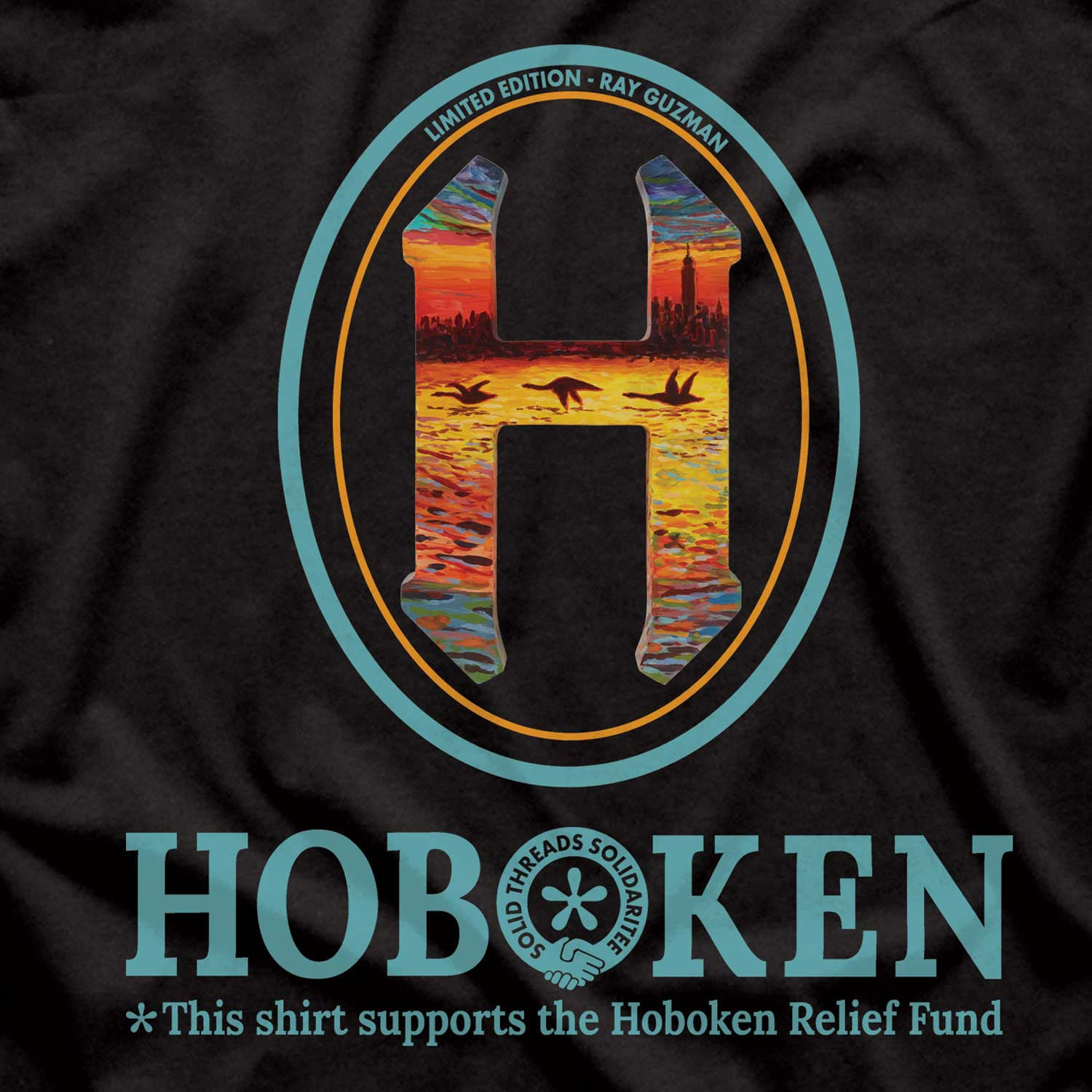 "Women's Hoboken ""H"" Relief Fund Limited Edition scoopneck tee-shirt with cool, retro Ray Guzman graphic 