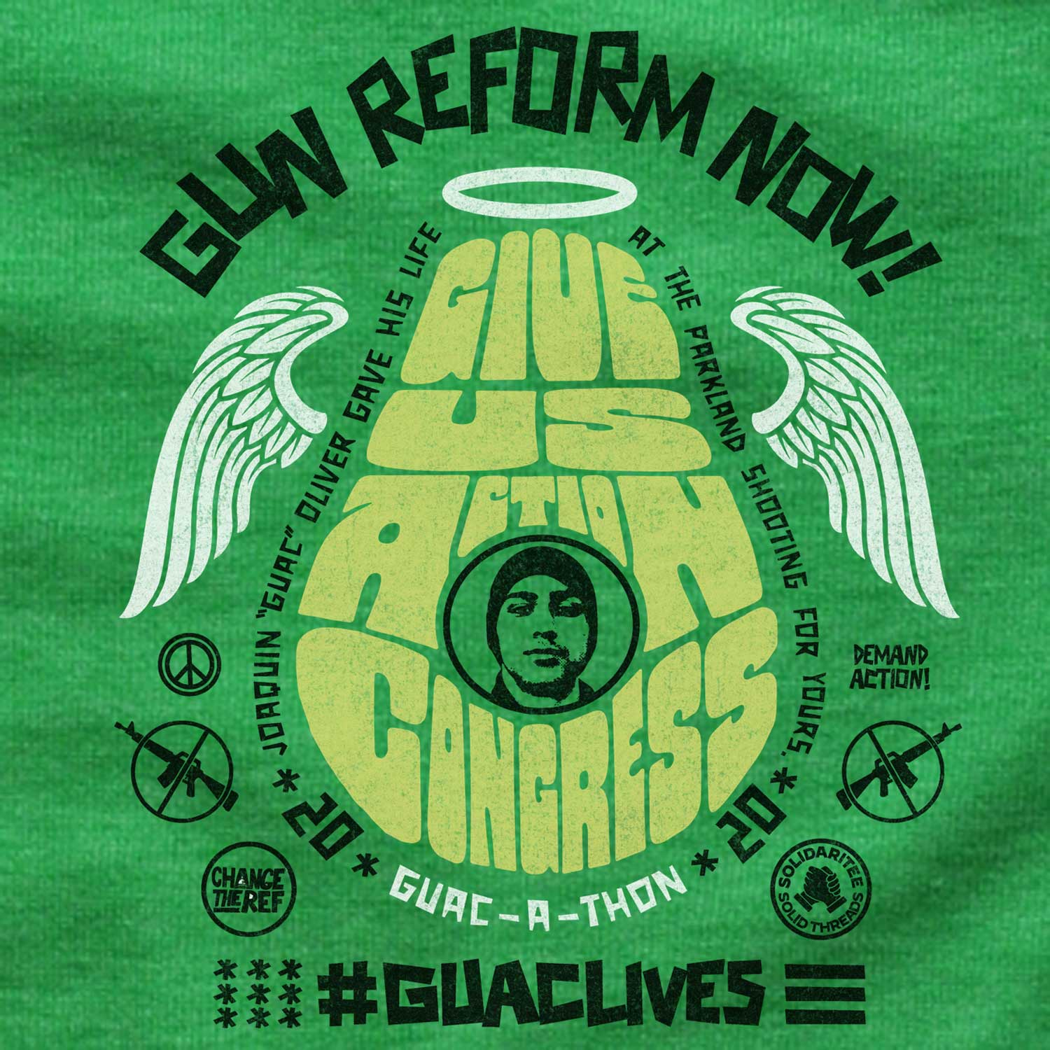 Baby Guac live give us action congress vintage inspired gun reform tee shirt with cool retro protest graphic | #GUAClives in SolidariTEE with Change The Ref