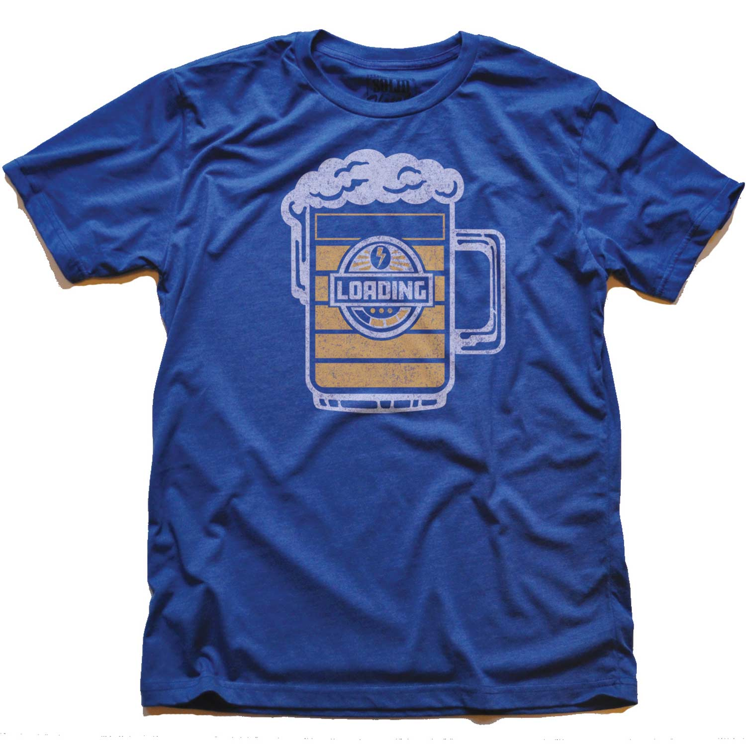 Men's Beer Loading Vintage Inspired T-shirt | Cool Retro Tee with Funny Drinking Graphic | Solid Threads