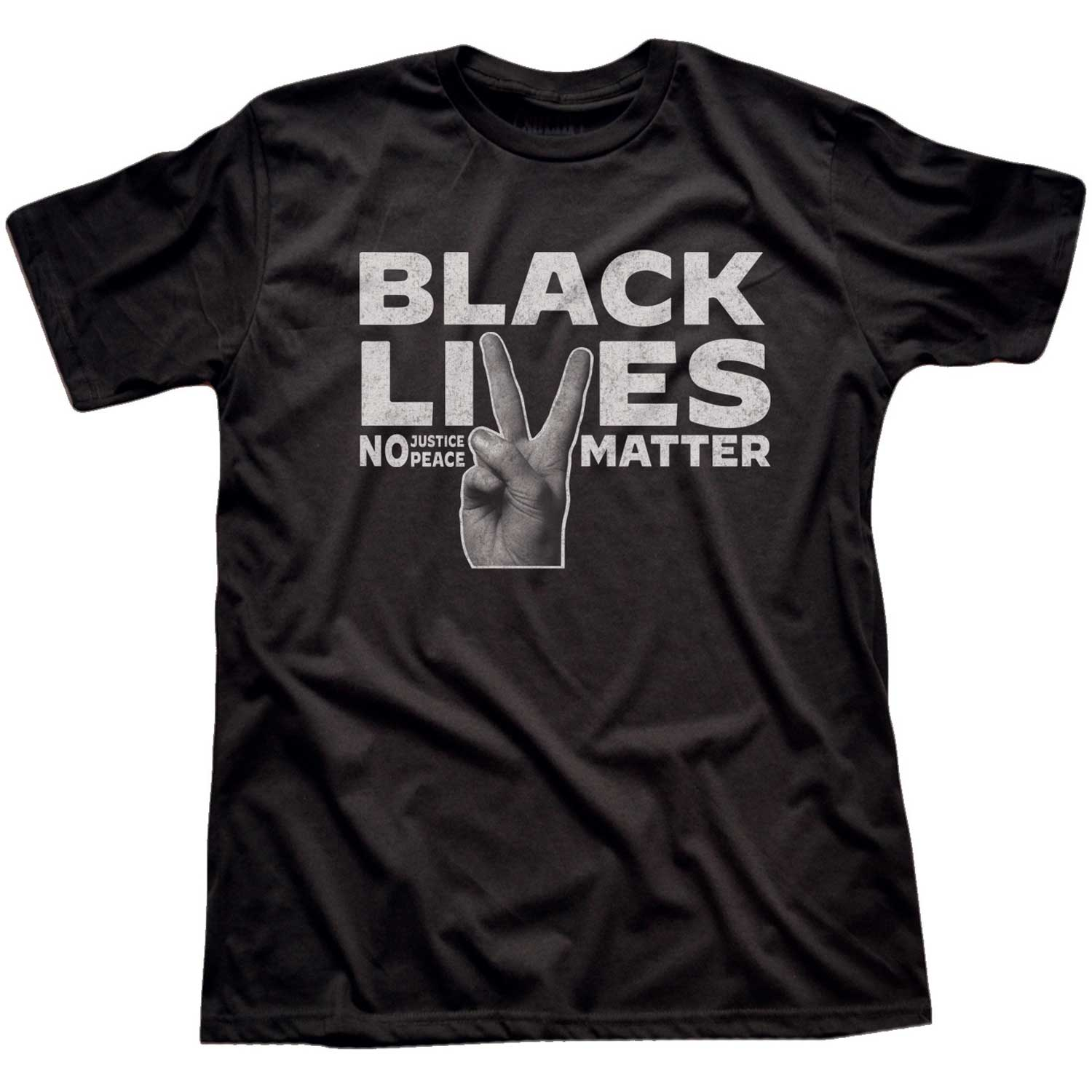 Men's Black Lives Matter Peace Fingers Vintage Inspired T-shirt | Cool BLM Graphic Tee | Solid Threads