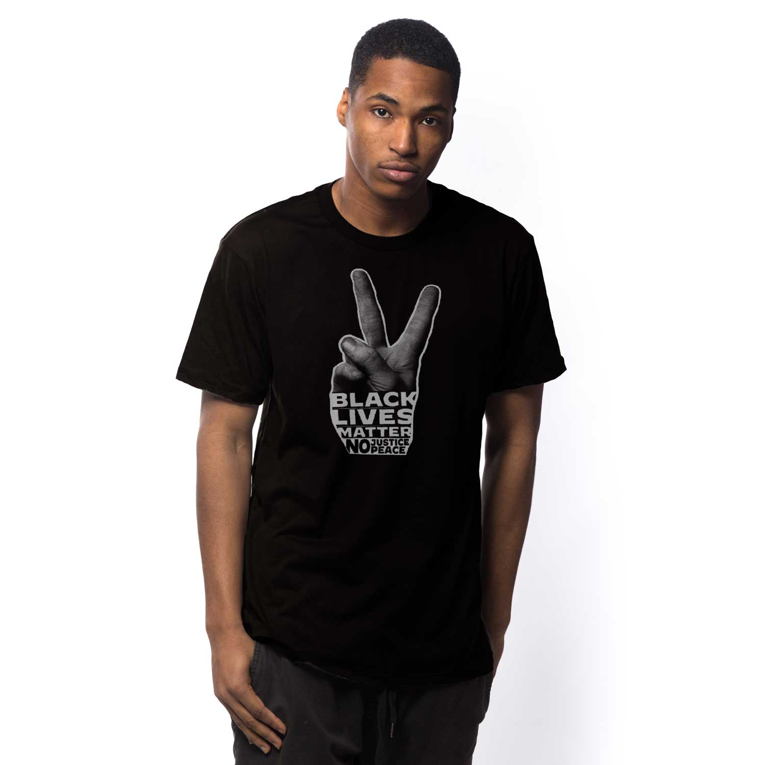 Men's Black Lives Matter Peace Hand Vintage Inspired T-shirt | Cool BLM Graphic Tee | Solid Threads
