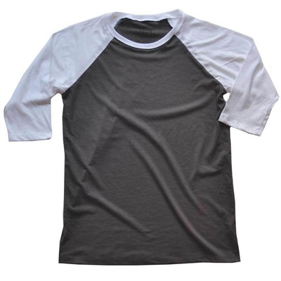 Men's Solid Threads Raglan Baseball Blackwash/White T-shirt