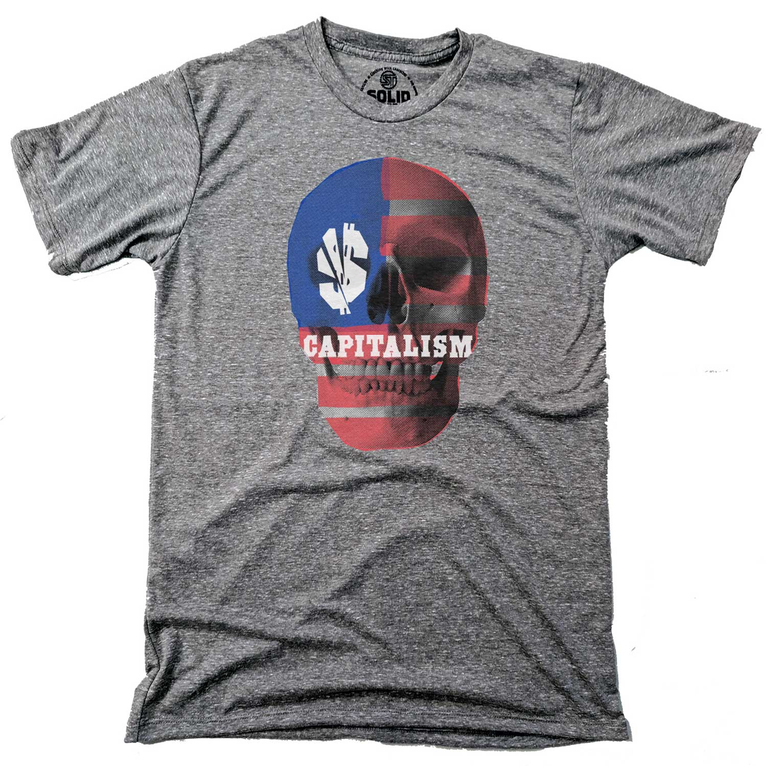 Men's Capitalism Skull Vintage Inspired T-shirt | Cool Income Inequality Graphic Tee | Solid Threads