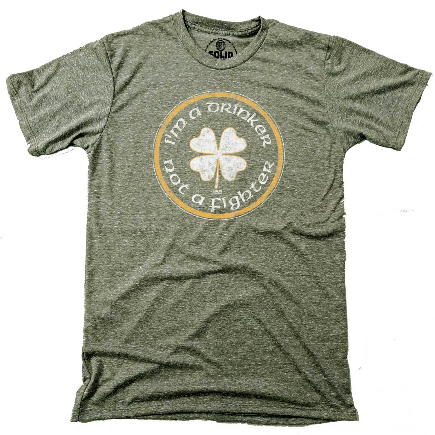 Men's I'm a Drinker Note a Fighter Vintage Inspired Triblend Olive T-shirt with cool, St. Paddy's graphic | Solid Threads
