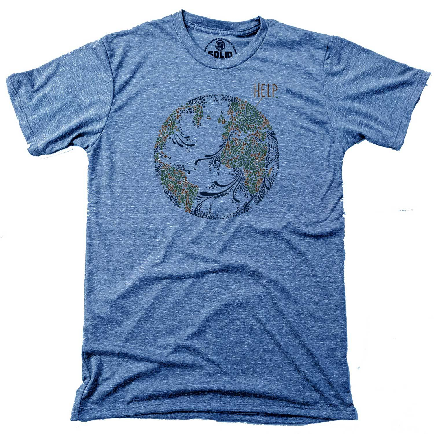 Men's Earth Help Vintage Inspired T-Shirt | Cool Environmentalism Graphic Tee | Solid Threads