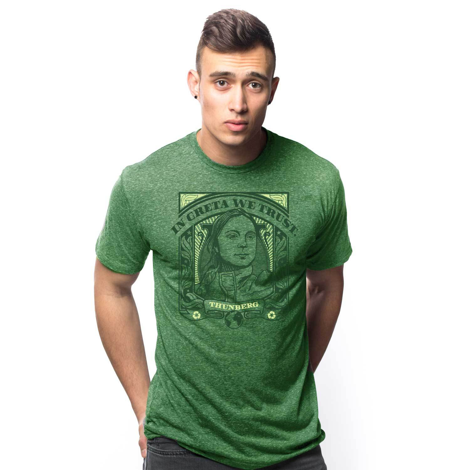 Men's In Greta Thunberg We Trust Vintage Inspired T-Shirt | Retro Environmental Activism Graphic Tee | Solid Threads