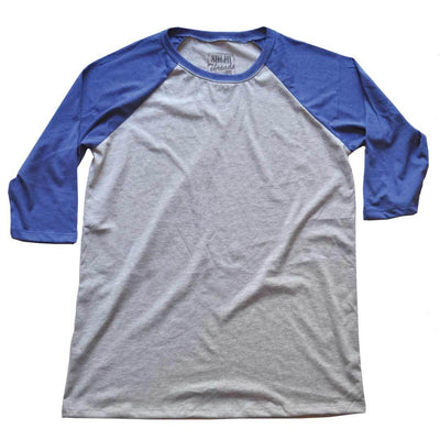 Men's Solid Threads Raglan Baseball Grey/Royal T-shirt
