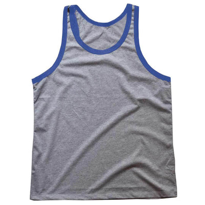 Men's Solid Threads Grey/Royal Tank Top