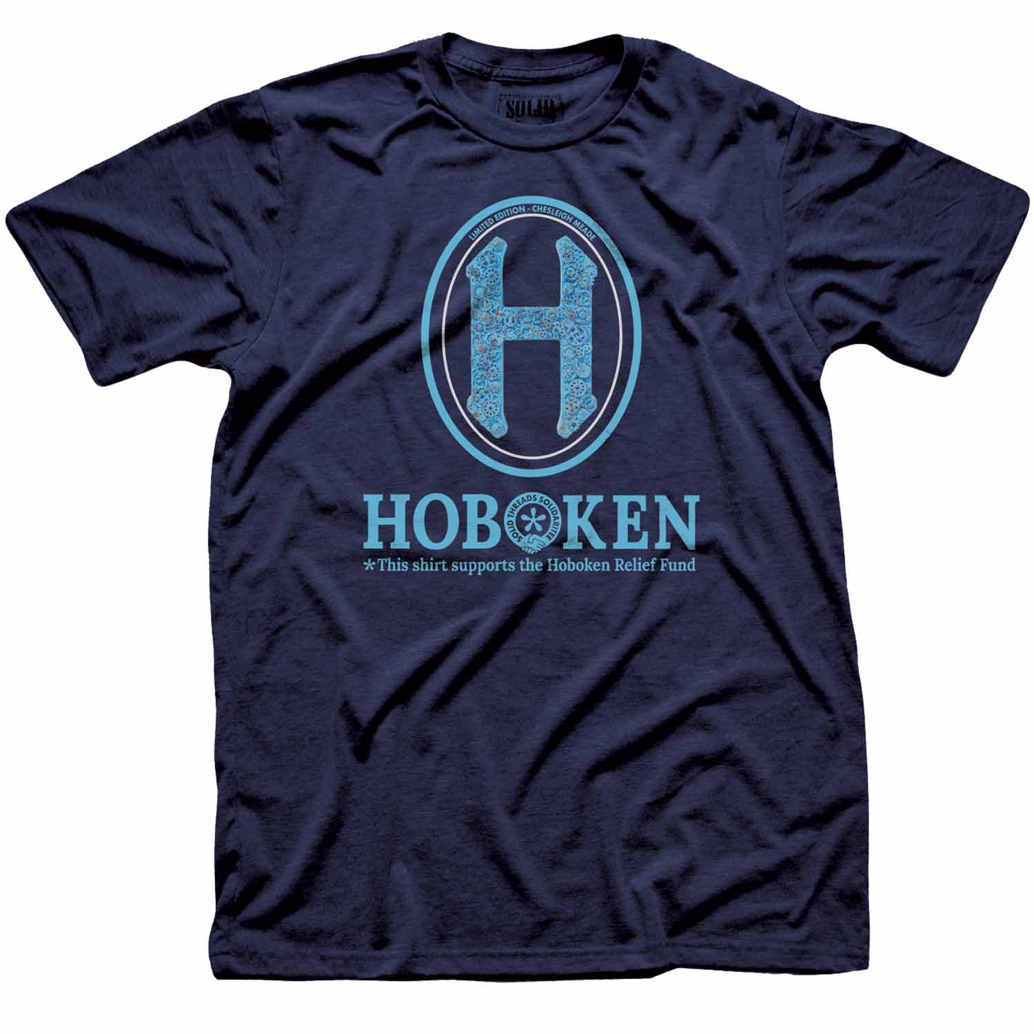 "Men's Hoboken ""H"" Relief Fund Limited Edition scoopneck tee-shirt with cool, retro Chesleigh Meade graphic 