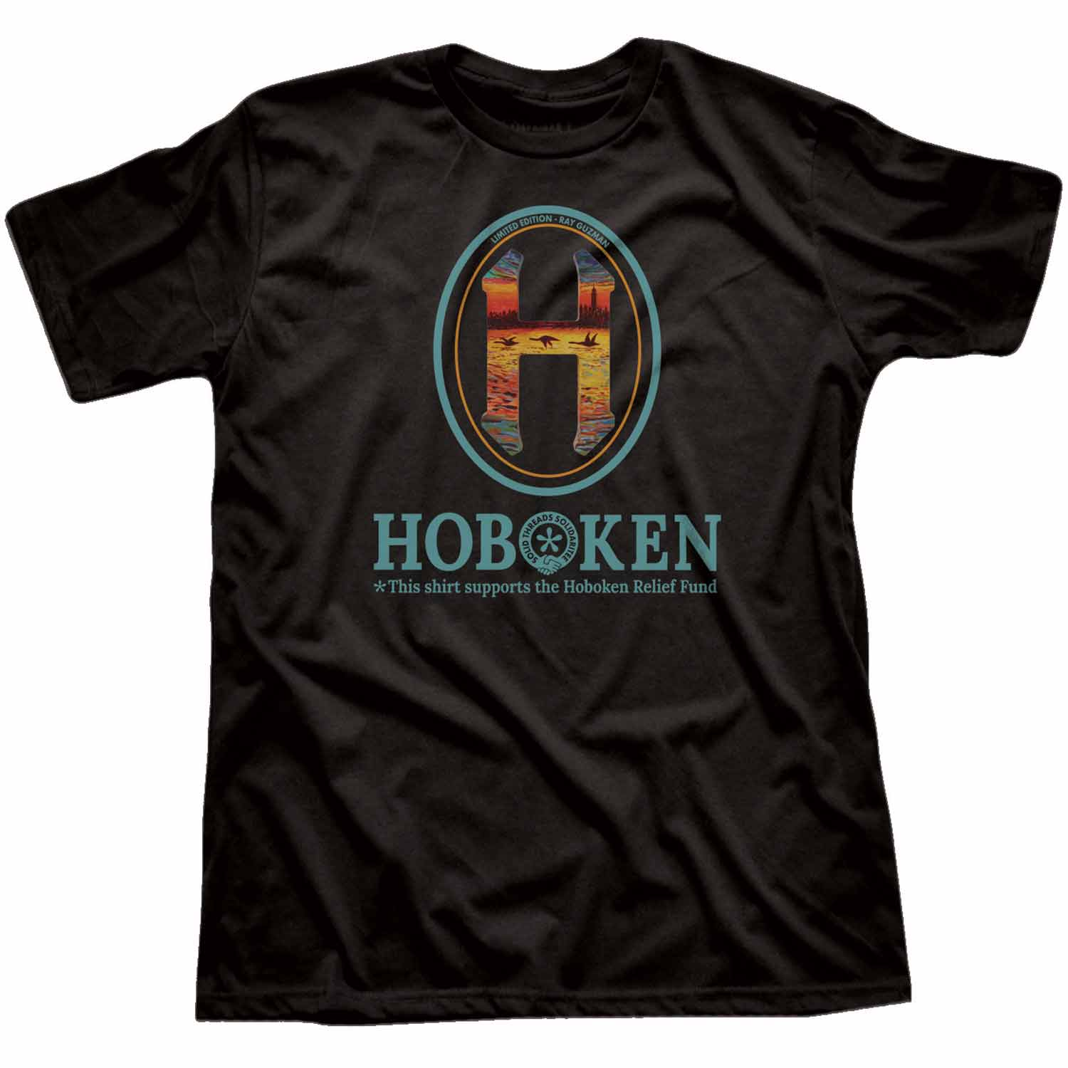 "Men's Hoboken ""H"" Relief Fund Limited Edition scoopneck tee-shirt with cool, retro Ray Guzman graphic 