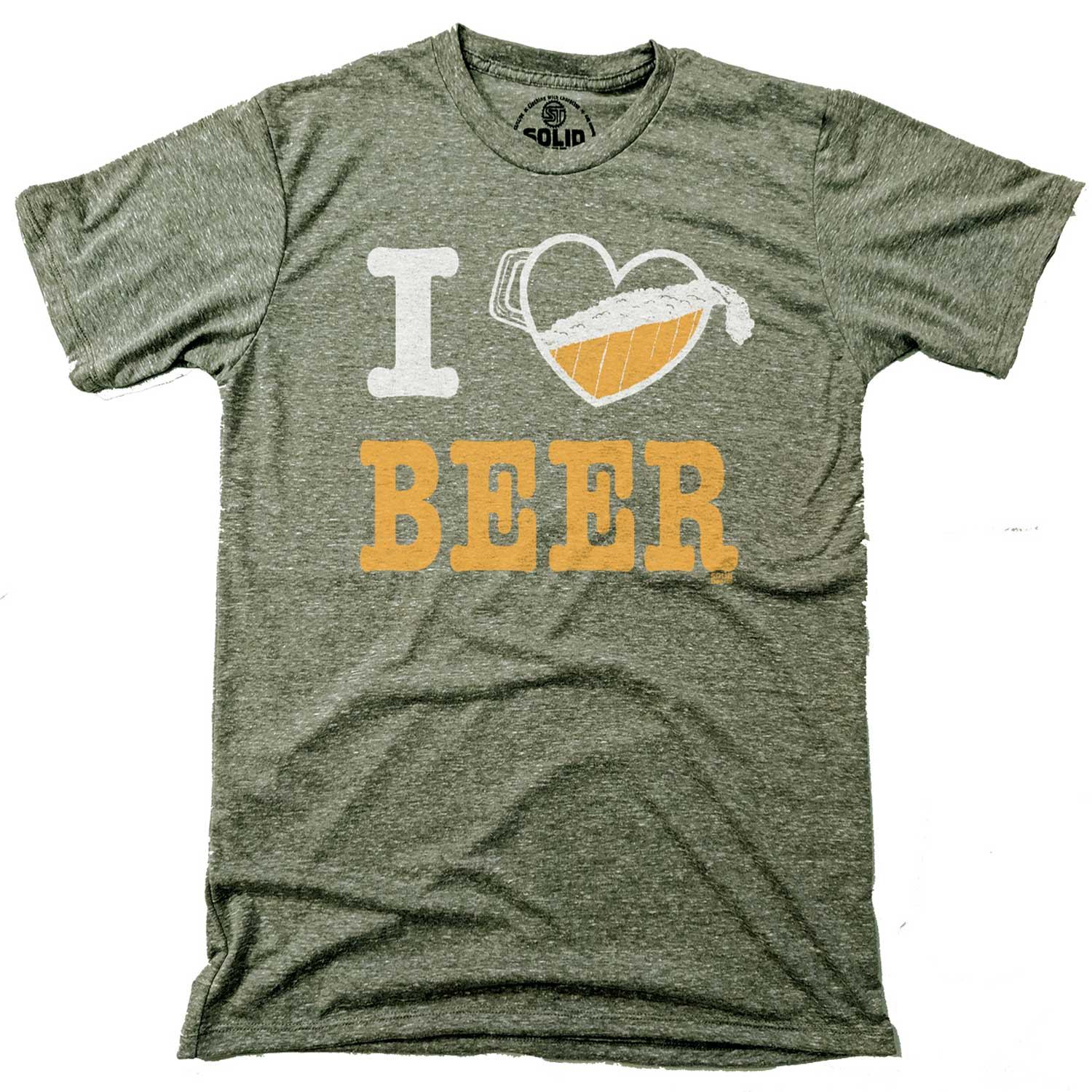 Men's I Heart Beer Vintage Inspired T-shirt | Funny Drinking Graphic Tee With Pitcher | Solid Threads