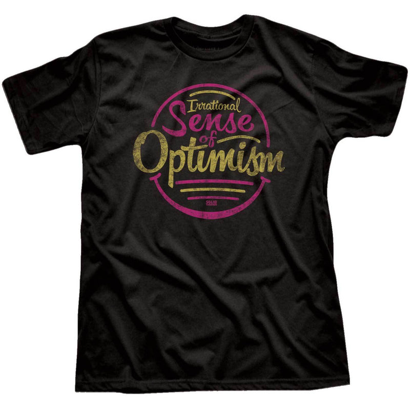 Irrational Sense of Optimism Vintage Inspired Tee-shirt with Retro Positivity Graphic | Solid Threads