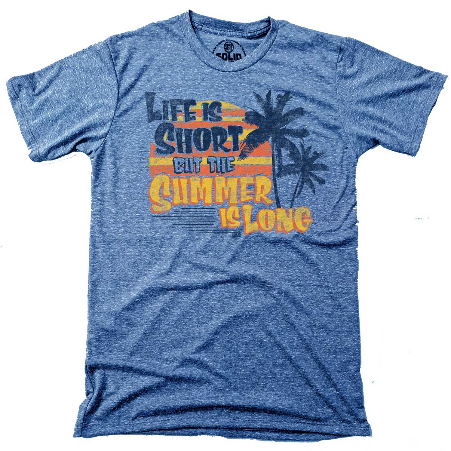 Men's Life is Short But the Summer is Long Vintage Inspired T-Shirt | Retro Beach Graphic Tee | Solid Threads