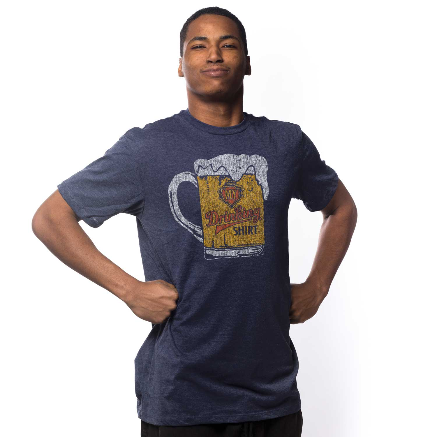 Men's My Drinking Shirt Retro T-shirt | Funny Beer Mug Graphic Tee | Solid Threads