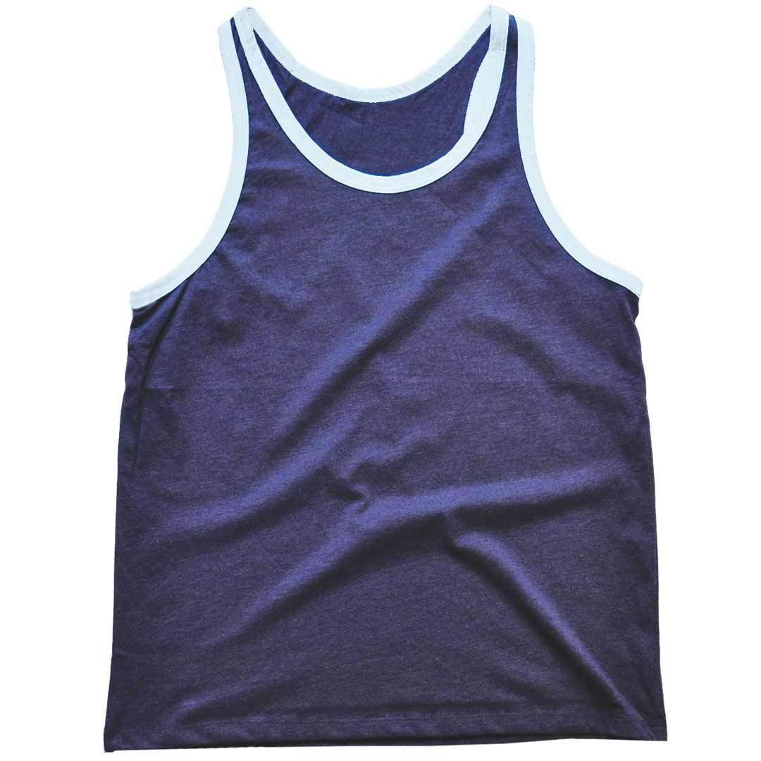 Men's Solid Threads Navy/White Tank Top