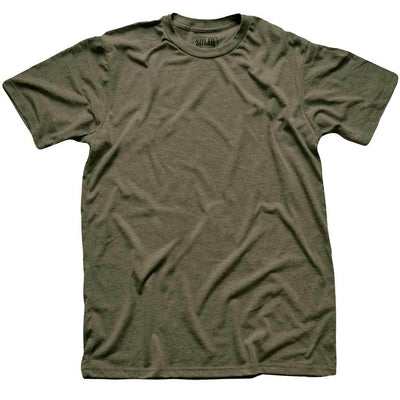 Men's Solid Threads Crew Neck Olive T-shirt