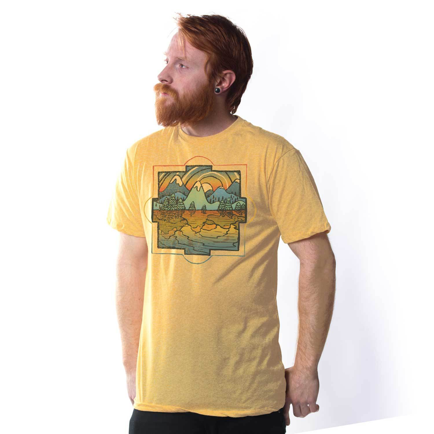 Men's Reflections Vintage Inspired T-Shirt | Cool Colorful Lake Graphic Tee | Solid Threads