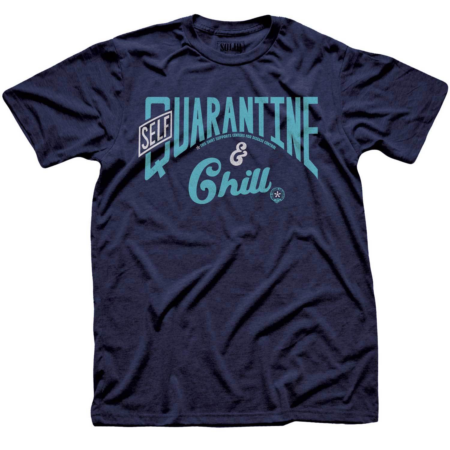 Self Quarantine & Chill Vintage Inspired Tee-shirt with Retro Coronavirus Relief Charity Graphic | Solid Threads