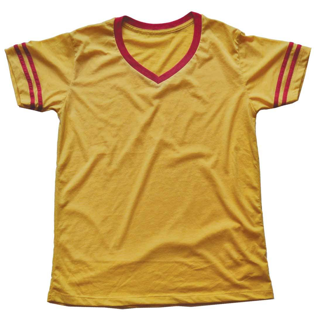 Men's Solid Threads V-Neck Gold/Red T-shirt