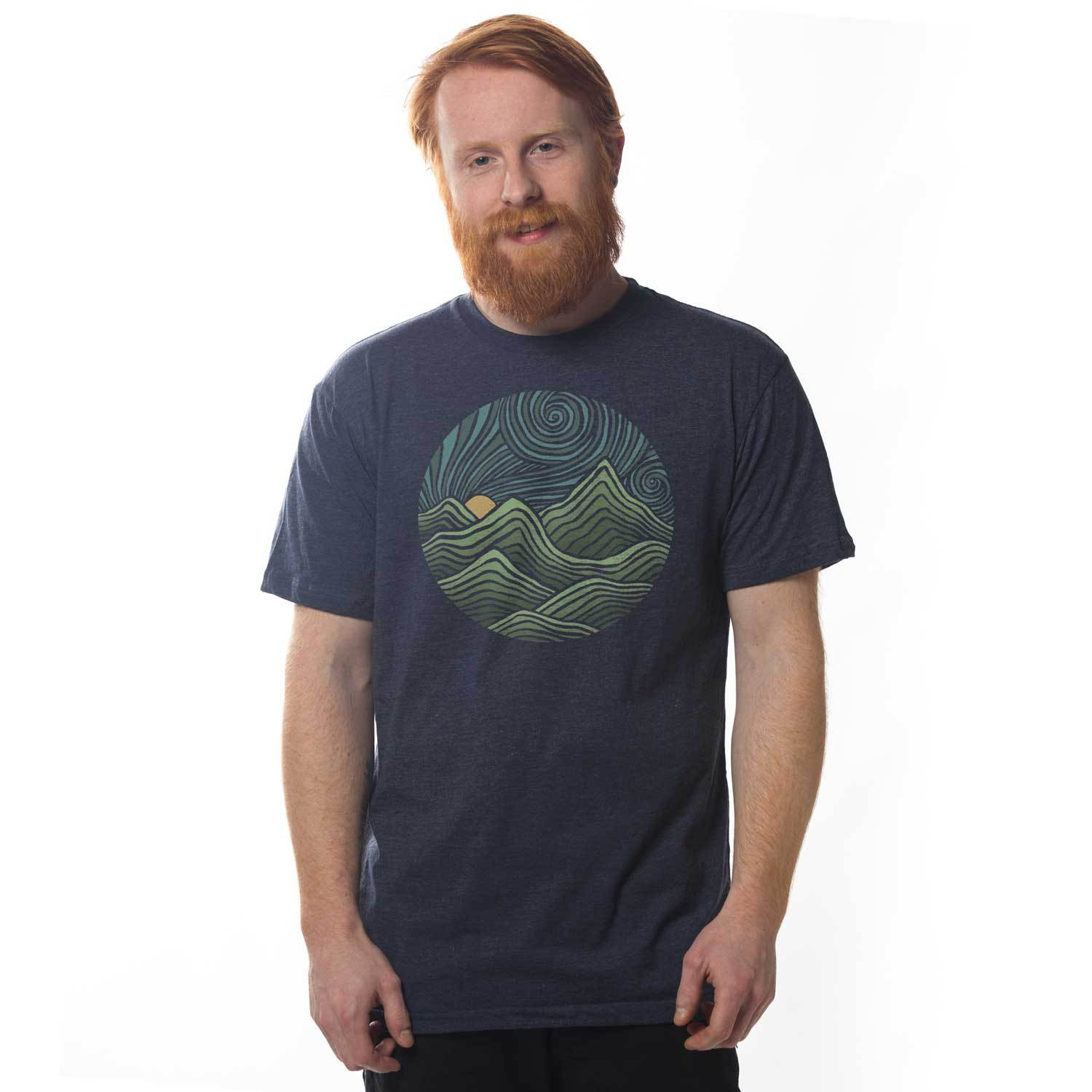 Men's Swirly Mountains Vintage Inspired T-Shirt | Cool Nature Graphic Tee | Solid Threads