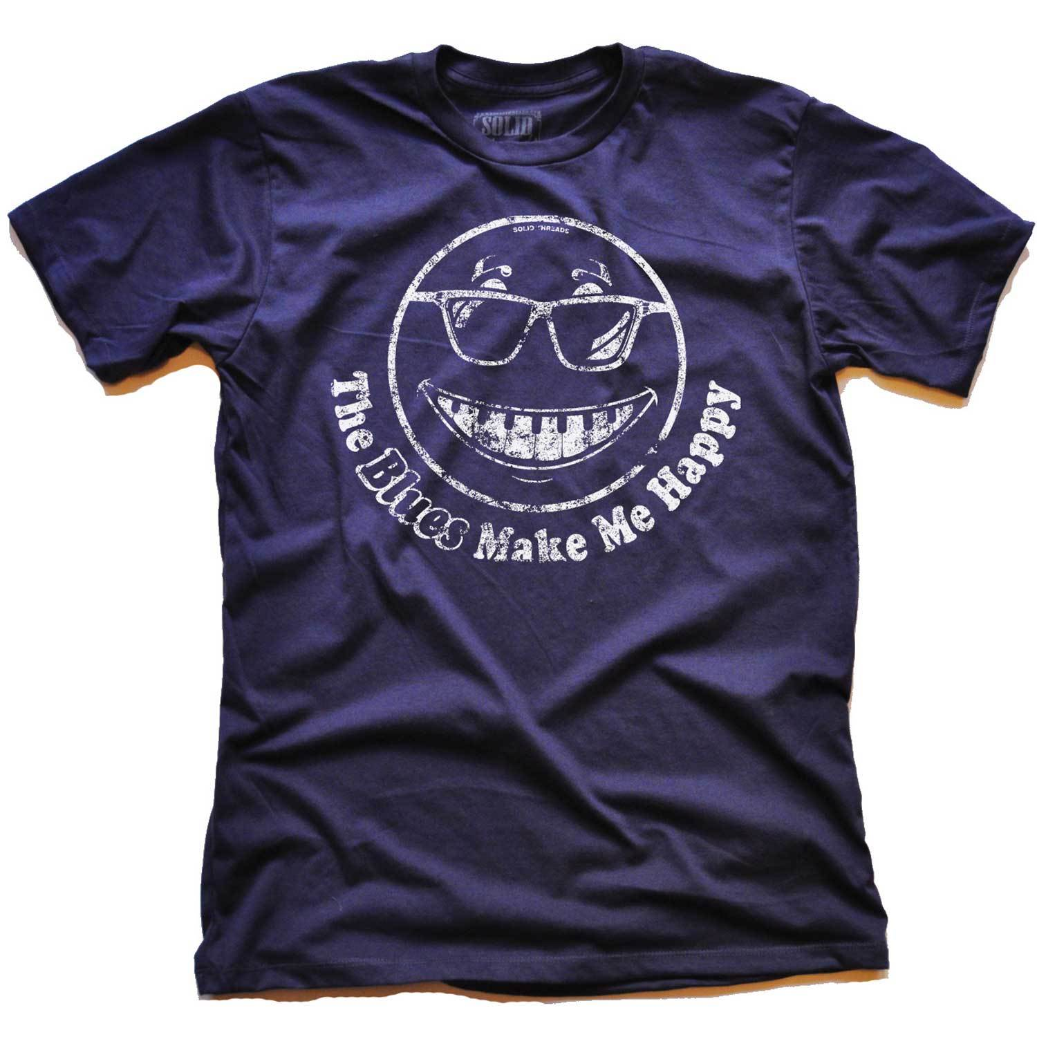 Men's The Blues Make Me Happy Vintage Inspired tee-shirt with cool, music graphic | Solid Threads
