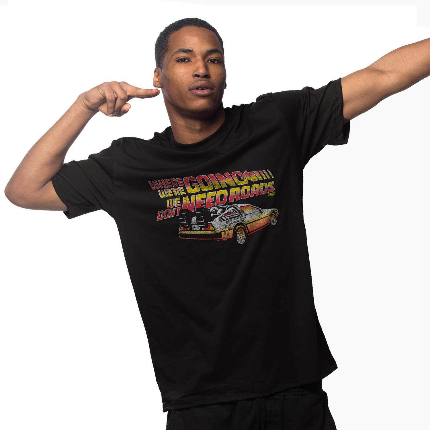 Men's Where We're Going, We Don't Need Roads Vintage Inspired T-Shirt | Retro Back To The Future Graphic Tee | Solid Threads