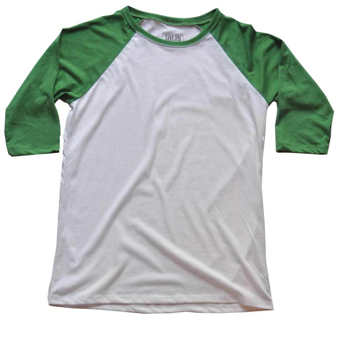 Men's Solid Threads Raglan Baseball White/Kelly T-shirt