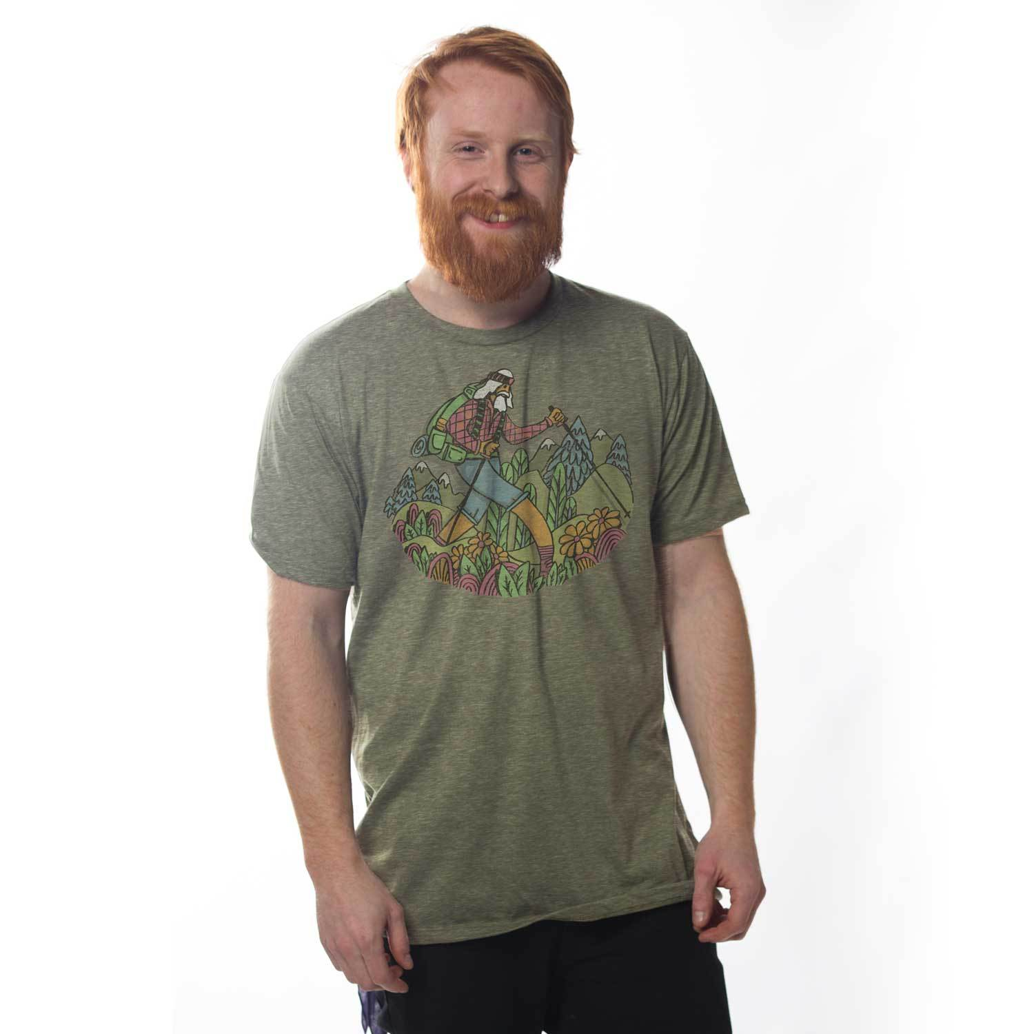 Men's Wise Hiker Vintage Inspired T-Shirt | Retro Hiking Graphic Tee | Solid Threads