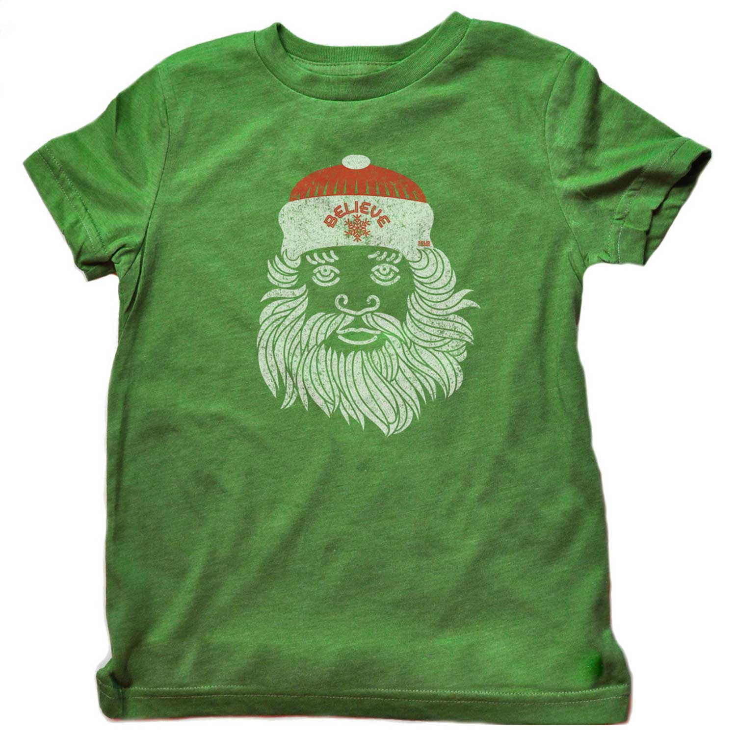 Kids Believe in Santa Cool Retro T-shirt | Funny Christmas Graphic Tee | Solid Threads