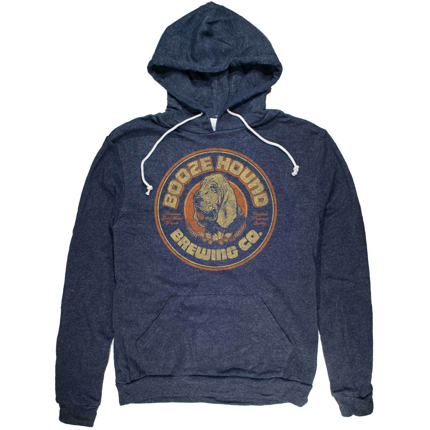 Boozehound Vintage Inspired Pullover Hoodie with funny dog brewery graphic | Solid Threads