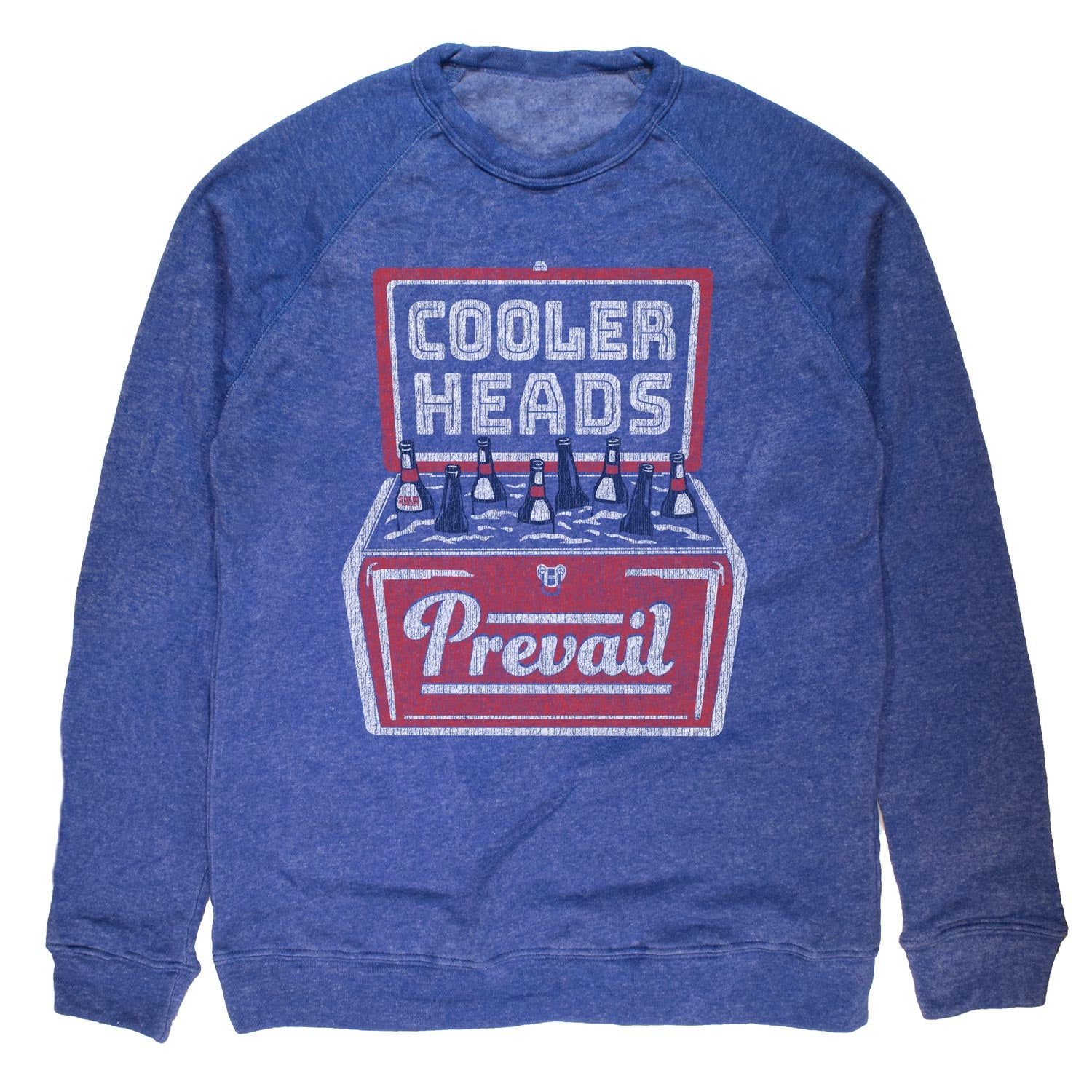 Cooler Heads Prevail Vintage Fleece Crewneck Sweatshirt | Funny Party Graphic | Solid Threads