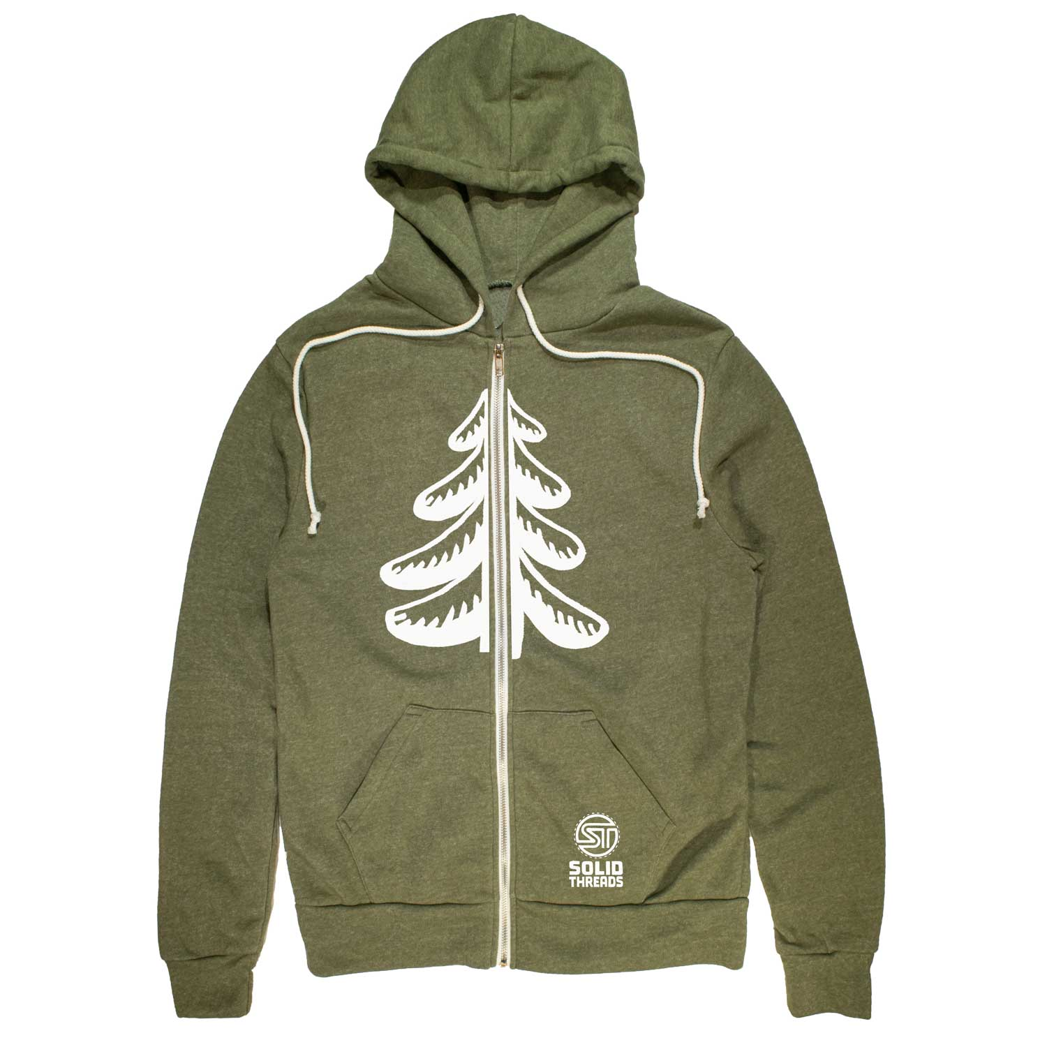 Flowing Pine Tree Vintage Zip Up Hoodie | Cool Forest Aesthetic Graphic | Solid Threads