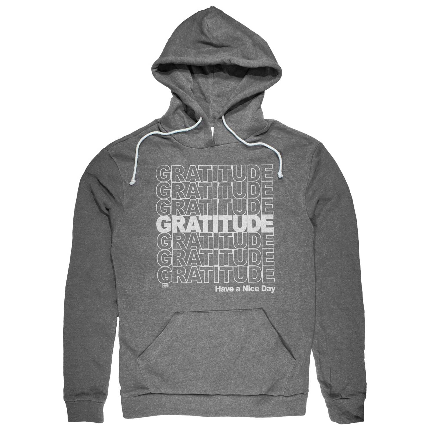 Gratitude Vintage Pullover Hoodie | Funny Thankfulness Graphic | Solid Threads