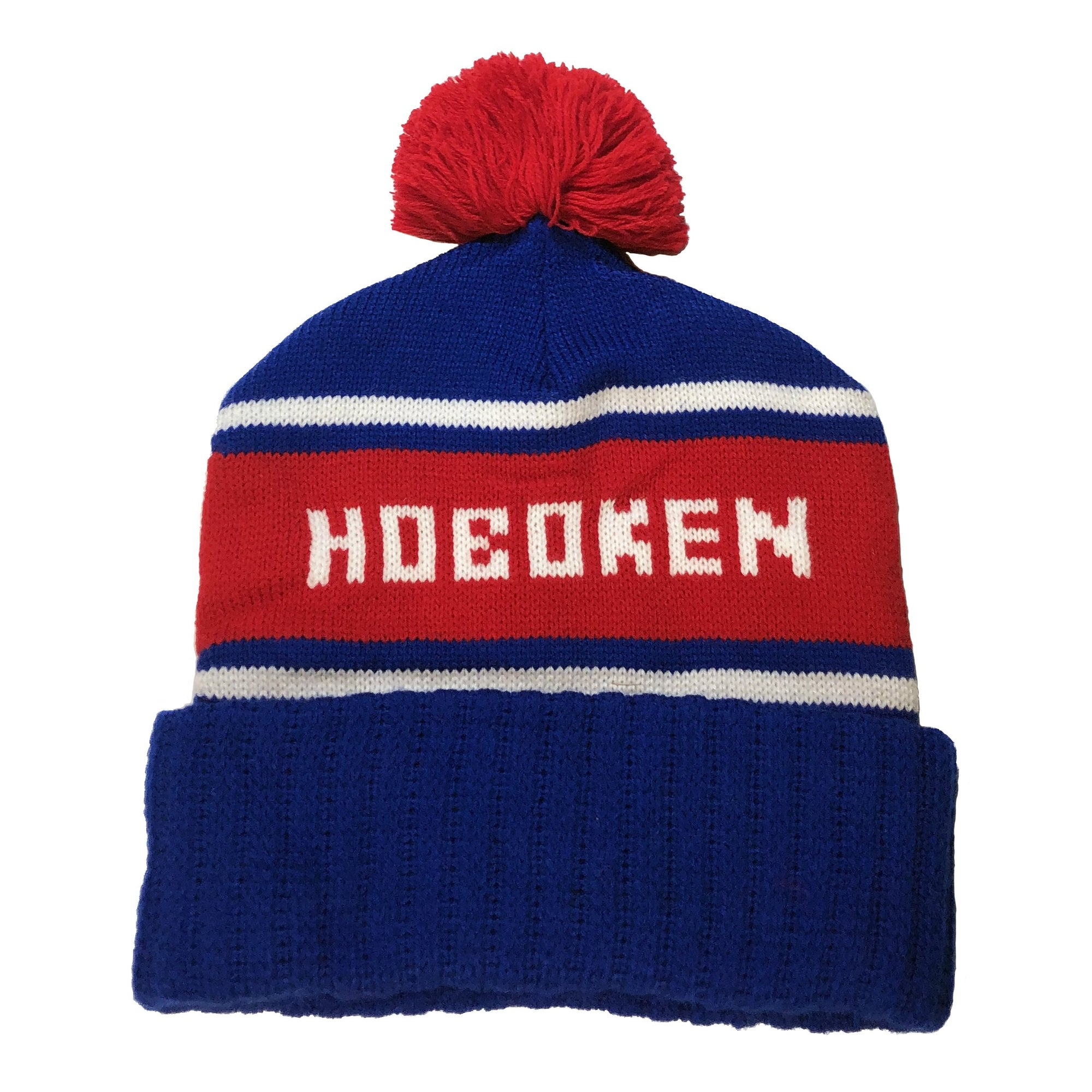 Vintage Inspired Hoboken Winter Pom Pom Hat | Cool Retro Knit Square Mile Beanie | Solid Threads