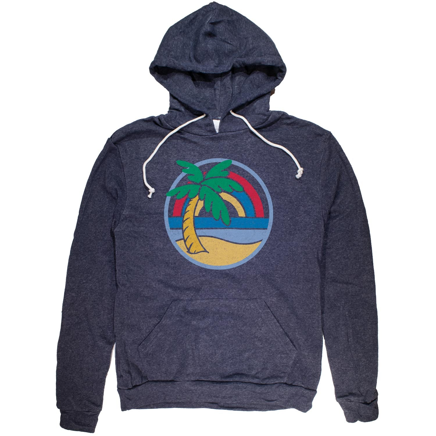 Palm Tree Rainbow Vintage Pullover Hoodie | Cool Beach Graphic | Solid Threads