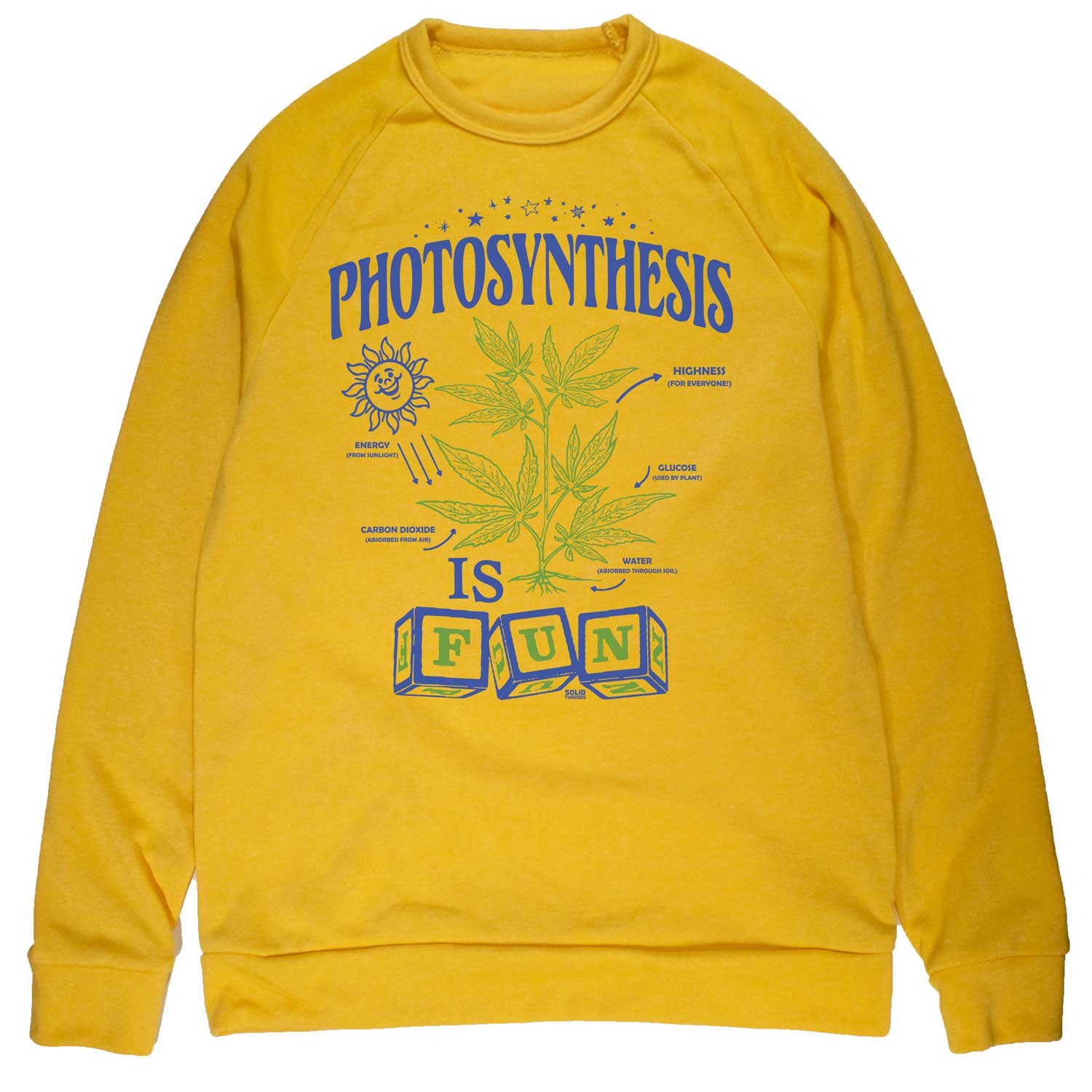 Unisex Photosynthesis is Fun Vintage Inspired Fleece Crewneck Sweatshirt | Retro Marijuana Graphic Pullover | Solid Threads