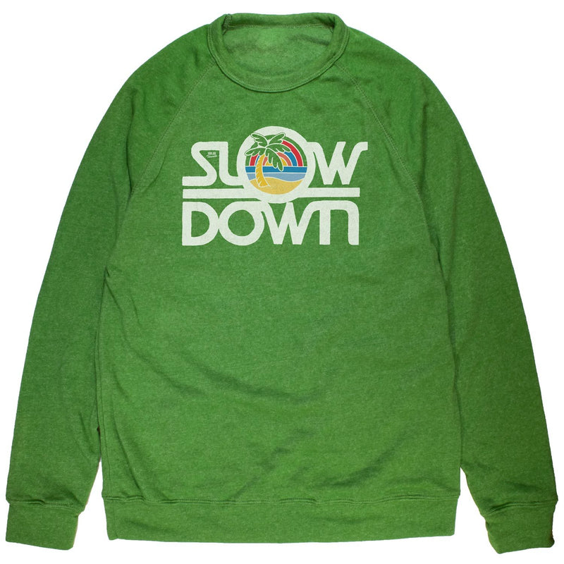 Slow Down Vintage Inspired Fleece Crewneck Sweatshirt with retro beach graphic | Solid Threads