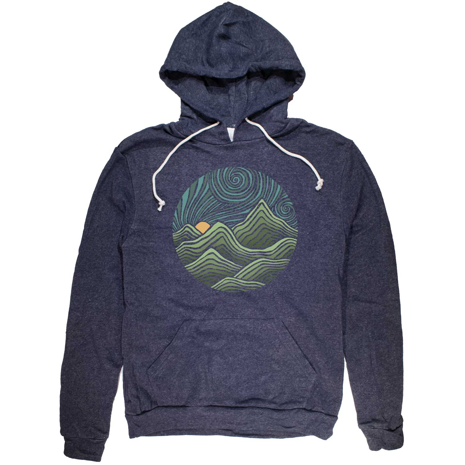 Swirly Mountains Vintage Pullover Hoodie | Cool Hiking Graphic | SOLID THREADS