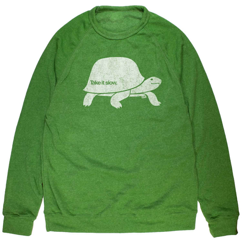 Take It Slow Vintage Inspired Fleece Crewneck Sweatshirt with funny turtle graphic | Solid Threads