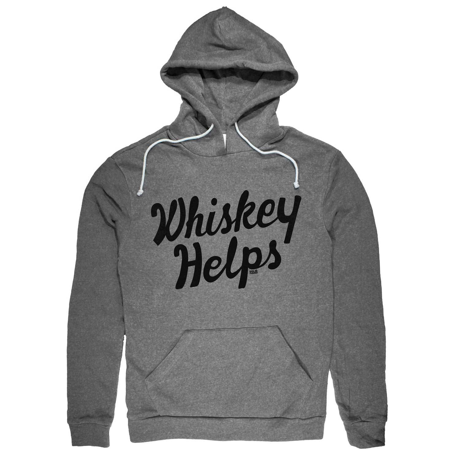 Whiskey Helps Vintage Inspired Pullover Hoodie with funny liquor graphic | Solid Threads