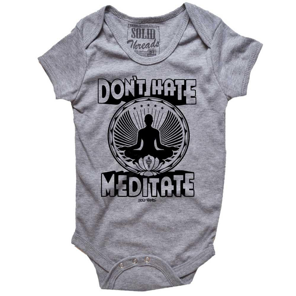 Baby Don't Hate Meditate Retro Onesie | SOLID THREADS