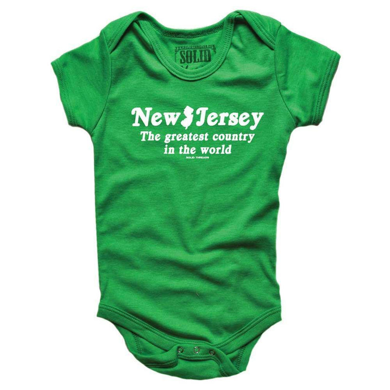 Baby New Jersey The Greatest Country In The World Retro Onesie | SOLID THREADS