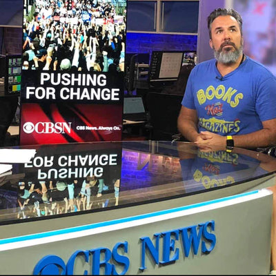 Manuel Oliver on CBS This Morning, wearing a Solid Threads t-shirt in support of Gun Reform Laws.