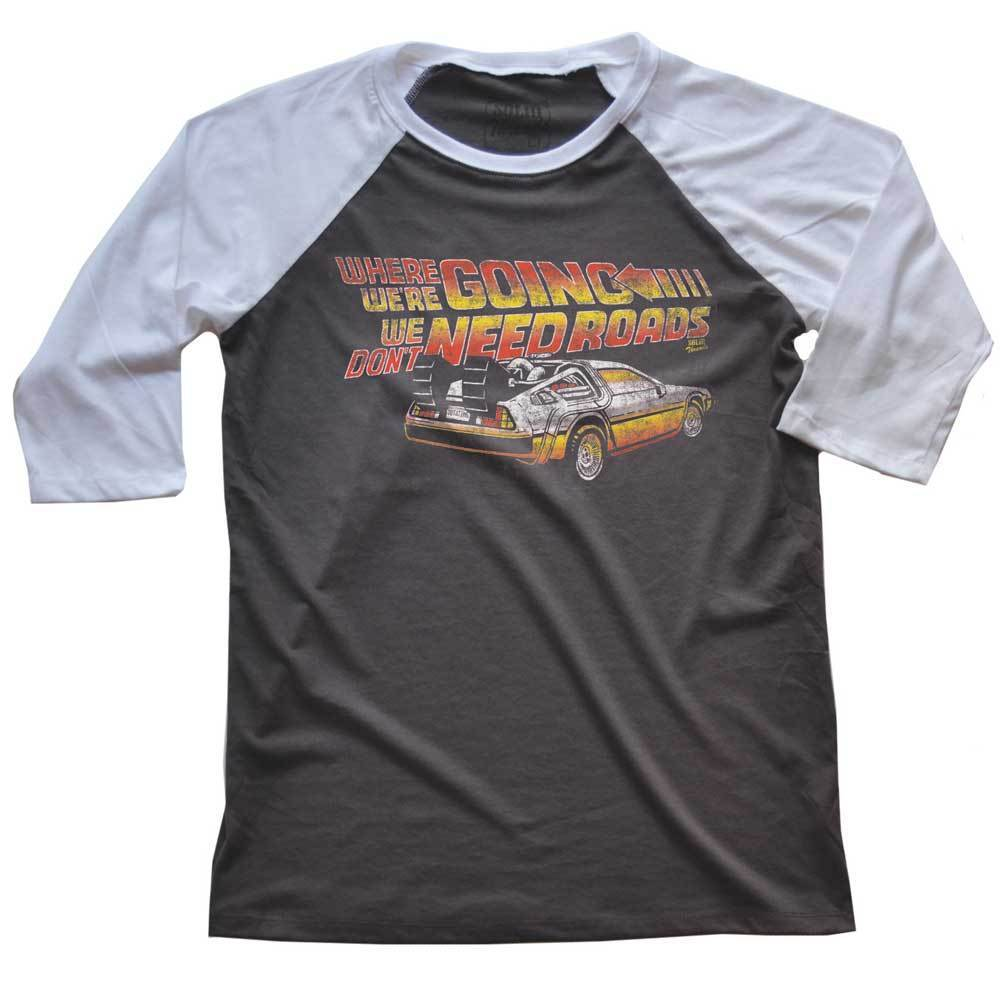 Where We're Going We Don't Need Roads' Vintage Raglan 3/4 Sleeve T-shirt | SOLID THREADS