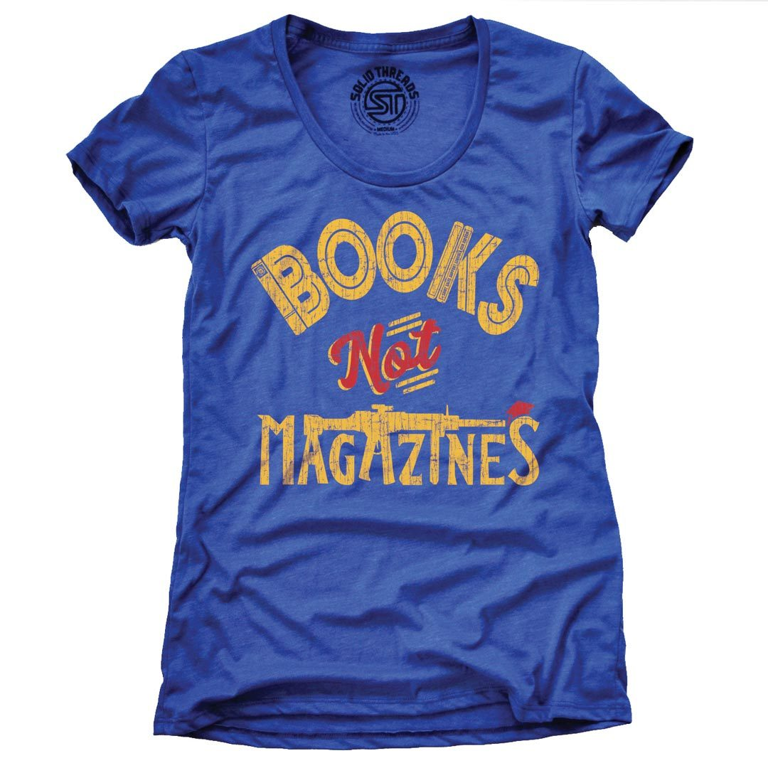 Women's Books Not Magazines Retro Gun Reform T-shirt