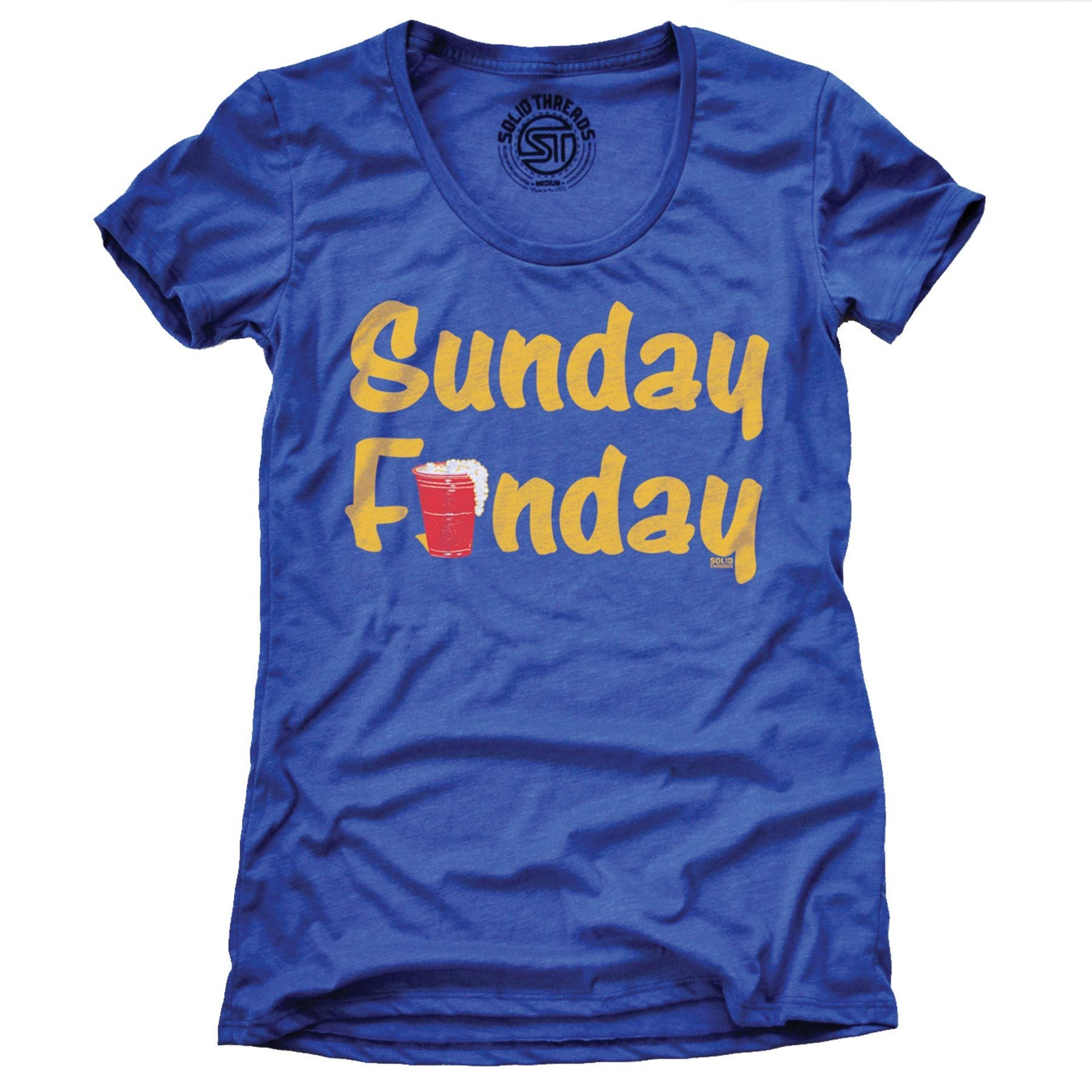 Women's Sunday Funday Vintage Inspired Drinking T-shirt | SOLID THREADS